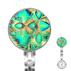 Golden Teal Peacock, Abstract Copper Crystal Stainless Steel Nurses Watch
