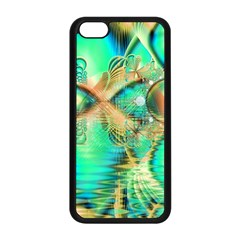 Golden Teal Peacock, Abstract Copper Crystal Apple iPhone 5C Seamless Case (Black)