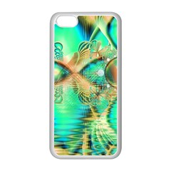 Golden Teal Peacock, Abstract Copper Crystal Apple iPhone 5C Seamless Case (White)