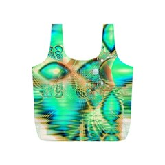 Golden Teal Peacock, Abstract Copper Crystal Reusable Bag (S)