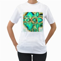 Golden Teal Peacock, Abstract Copper Crystal Women s T Shirt (white)