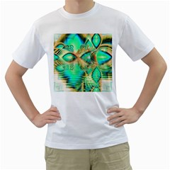 Golden Teal Peacock, Abstract Copper Crystal Men s T Shirt (white)