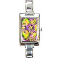 Golden Violet Crystal Heart Of Fire, Abstract Rectangular Italian Charm Watch