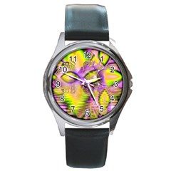 Golden Violet Crystal Heart Of Fire, Abstract Round Leather Watch (silver Rim)