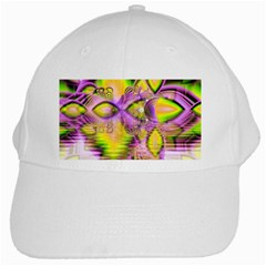 Golden Violet Crystal Heart Of Fire, Abstract White Baseball Cap