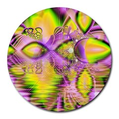 Golden Violet Crystal Heart Of Fire, Abstract 8  Mouse Pad (round)