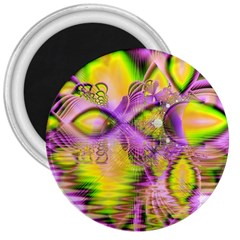 Golden Violet Crystal Heart Of Fire, Abstract 3  Button Magnet