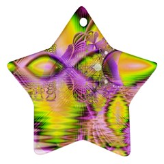 Golden Violet Crystal Heart Of Fire, Abstract Star Ornament