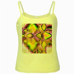Golden Violet Crystal Heart Of Fire, Abstract Yellow Spaghetti Tank