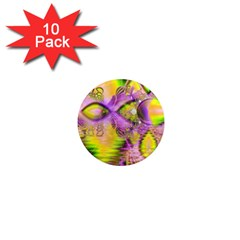 Golden Violet Crystal Heart Of Fire, Abstract 1  Mini Button Magnet (10 pack)