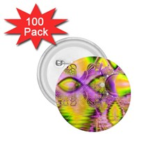 Golden Violet Crystal Heart Of Fire, Abstract 1 75  Button (100 Pack)