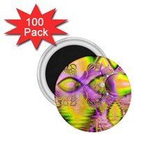 Golden Violet Crystal Heart Of Fire, Abstract 1 75  Button Magnet (100 Pack)