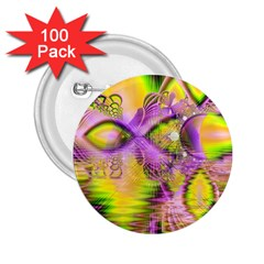 Golden Violet Crystal Heart Of Fire, Abstract 2 25  Button (100 Pack)