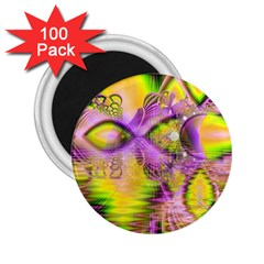 Golden Violet Crystal Heart Of Fire, Abstract 2.25  Button Magnet (100 pack)