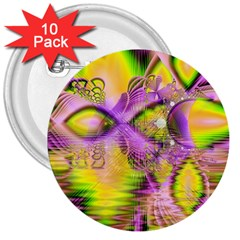 Golden Violet Crystal Heart Of Fire, Abstract 3  Button (10 pack)