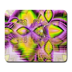 Golden Violet Crystal Heart Of Fire, Abstract Large Mouse Pad (rectangle)