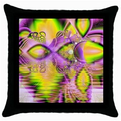 Golden Violet Crystal Heart Of Fire, Abstract Black Throw Pillow Case