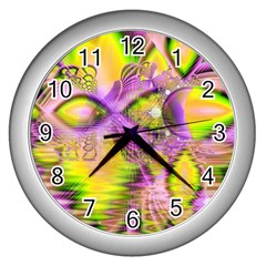 Golden Violet Crystal Heart Of Fire, Abstract Wall Clock (Silver)