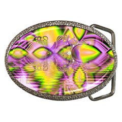 Golden Violet Crystal Heart Of Fire, Abstract Belt Buckle (Oval)
