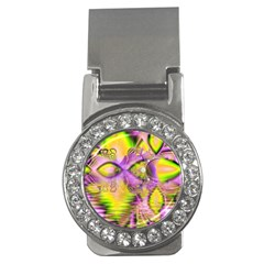Golden Violet Crystal Heart Of Fire, Abstract Money Clip (cz)