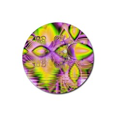 Golden Violet Crystal Heart Of Fire, Abstract Drink Coasters 4 Pack (Round)