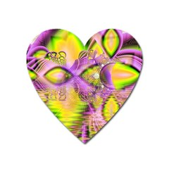 Golden Violet Crystal Heart Of Fire, Abstract Magnet (Heart)