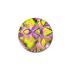 Golden Violet Crystal Heart Of Fire, Abstract Golf Ball Marker 4 Pack