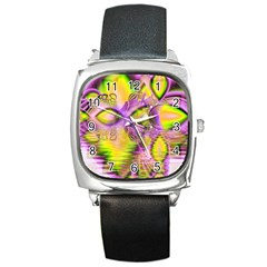 Golden Violet Crystal Heart Of Fire, Abstract Square Leather Watch
