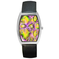 Golden Violet Crystal Heart Of Fire, Abstract Tonneau Leather Watch