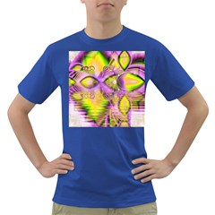 Golden Violet Crystal Heart Of Fire, Abstract Men s T-shirt (Colored)