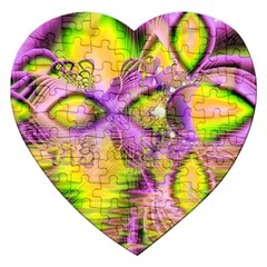 Golden Violet Crystal Heart Of Fire, Abstract Jigsaw Puzzle (Heart)