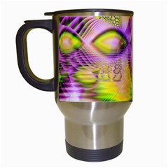Golden Violet Crystal Heart Of Fire, Abstract Travel Mug (White)
