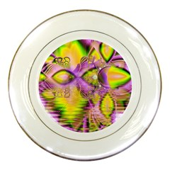 Golden Violet Crystal Heart Of Fire, Abstract Porcelain Display Plate