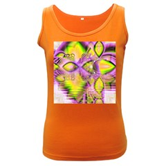 Golden Violet Crystal Heart Of Fire, Abstract Women s Tank Top (Dark Colored)