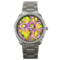 Golden Violet Crystal Heart Of Fire, Abstract Sport Metal Watch