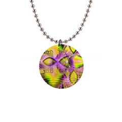 Golden Violet Crystal Heart Of Fire, Abstract Button Necklace