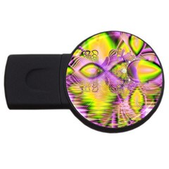 Golden Violet Crystal Heart Of Fire, Abstract 4gb Usb Flash Drive (round)