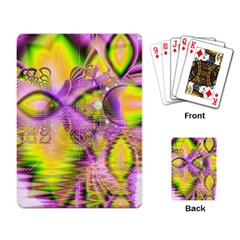 Golden Violet Crystal Heart Of Fire, Abstract Playing Cards Single Design