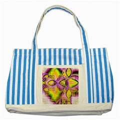Golden Violet Crystal Heart Of Fire, Abstract Blue Striped Tote Bag