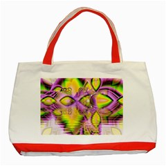 Golden Violet Crystal Heart Of Fire, Abstract Classic Tote Bag (Red)