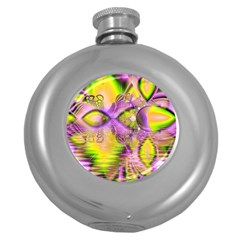 Golden Violet Crystal Heart Of Fire, Abstract Hip Flask (Round)