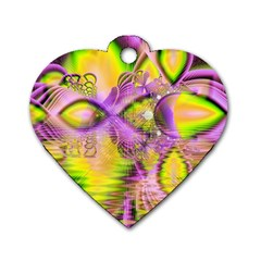 Golden Violet Crystal Heart Of Fire, Abstract Dog Tag Heart (two Sided)