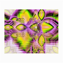 Golden Violet Crystal Heart Of Fire, Abstract Glasses Cloth (small, Two Sided)