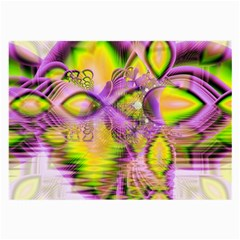 Golden Violet Crystal Heart Of Fire, Abstract Glasses Cloth (large, Two Sided)