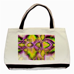 Golden Violet Crystal Heart Of Fire, Abstract Twin-sided Black Tote Bag
