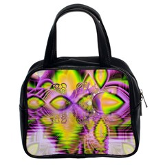 Golden Violet Crystal Heart Of Fire, Abstract Classic Handbag (two Sides)