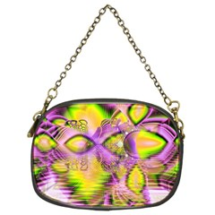 Golden Violet Crystal Heart Of Fire, Abstract Chain Purse (two Sided)