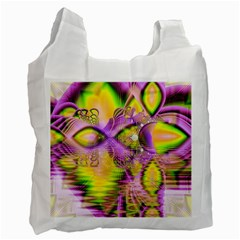 Golden Violet Crystal Heart Of Fire, Abstract White Reusable Bag (Two Sides)