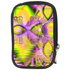 Golden Violet Crystal Heart Of Fire, Abstract Compact Camera Leather Case