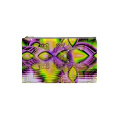 Golden Violet Crystal Heart Of Fire, Abstract Cosmetic Bag (small)